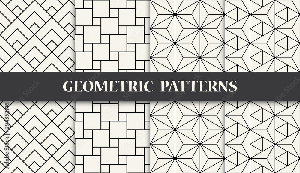 black and white geometric seamless pattern set <span>plik: #294352716   autor: sunspire</span>