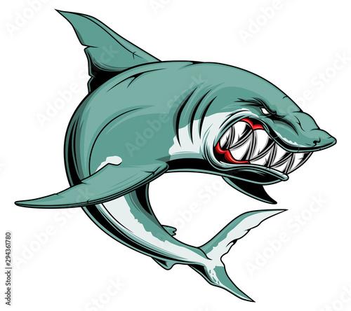 Obraz na płótnie Angry shark with sharp teeth