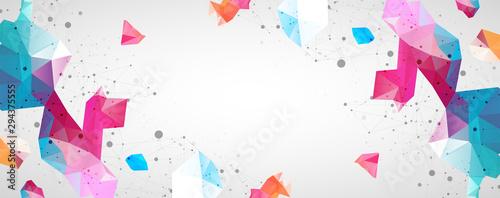 Fotografie, Tablou Wireframe background with plexus effect