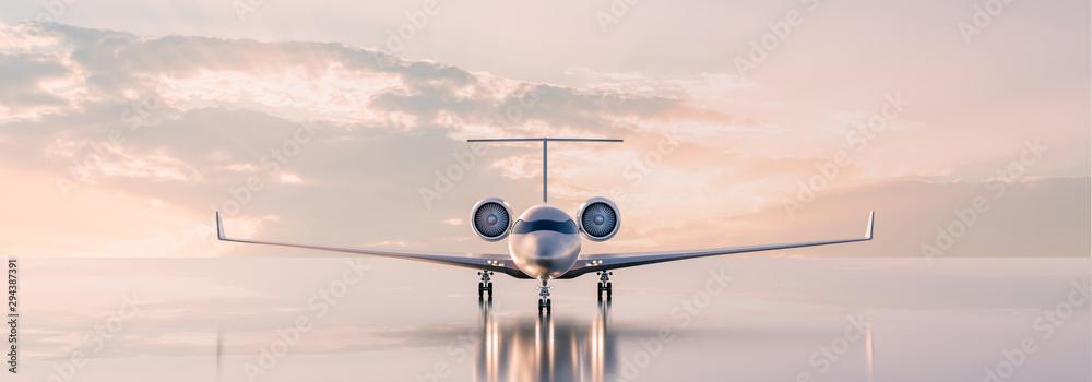 Business class travel concept, luxury private jet at sunset or sunrise. 3D illustration. <span>plik: #294387391   autor: Salih</span>