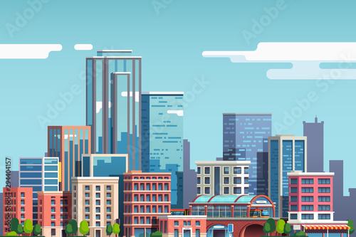 Obraz na płótnie City downtown with skyscrapers, building, blue sky