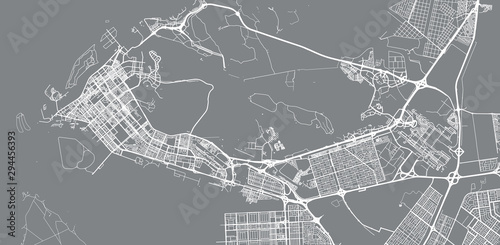 Fotografie, Obraz Urban vector city map of Abu Dhabi, United Arab Emirates