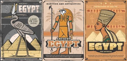 Obraz na plátně Ancient Egypt Nefertiti, pharaoh pyramids, Horus