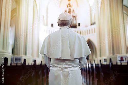 Fotografia Pope in the church. Back view