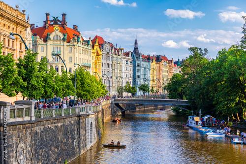 Fotografie, Tablou Scenic embankment in Prague city; Historical center of Prague, buildings and landmarks of old town, Prague, Czech Republic