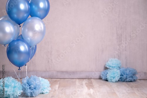 Digitaler Backdrop Geburtstag Kind Luftballons blau feiern - Var Fototapete