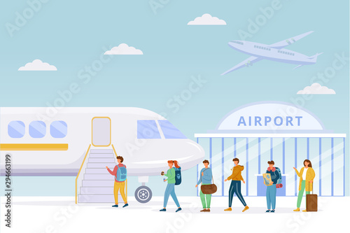 Fotografia Passengers boarding plane flat vector illustration