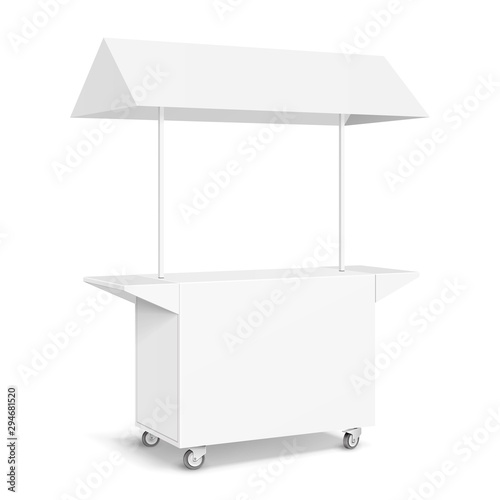 Stampa su Tela White POS POI Blank Empty Retail Stand Stall Mobile Bar Display With Roof, Canopy, Banner