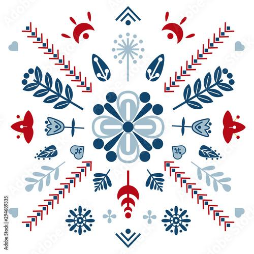 Fototapeta Folk art vector ornament with symbols, hearts, and flowers