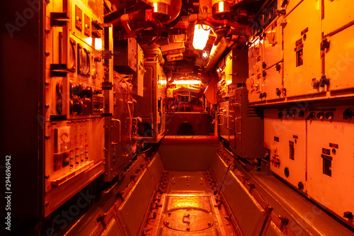 Canvas Print Interior of combat submarine compartment with devices of control