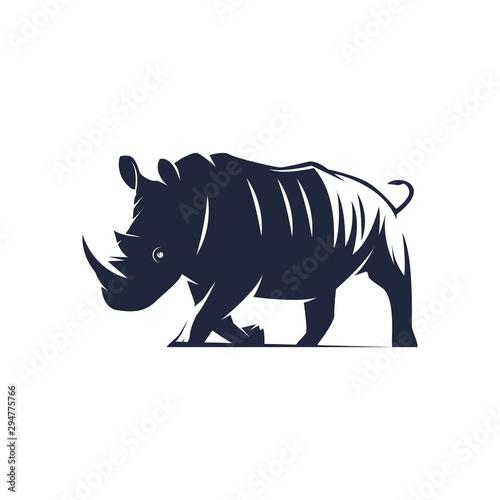 ilustration black rhino - logo vector Fototapeta