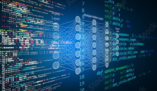 Fotografía Machine learning , artificial intelligence, ai, deep learning blockchain neural network concept