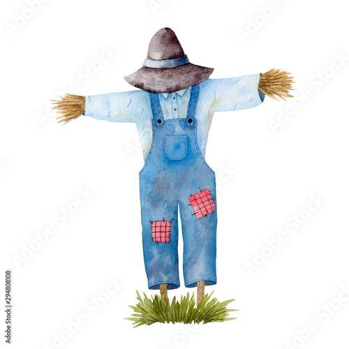Obraz na płótnie Watercolor illustration with garden scarecrow and green grass isolated on white background