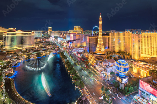 Photo Aerial view of Las Vegas strip at night
