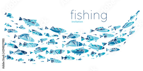 Photo Blue school fish on white background