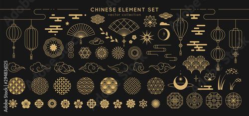 Fotografia Asian design element set