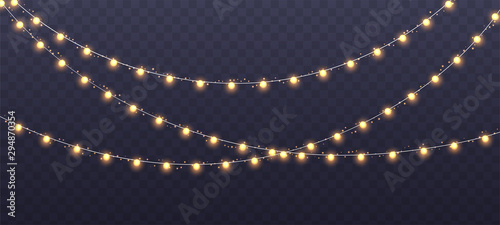Christmas garland isolated on transparent background. Glowing yellow light bulbs with sparkles. Xmas, New Year, wedding or Birthday decor. Party event decoration. Winter holiday season element.