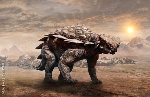 Slika na platnu Gargoyleosaurus dinosaur scene 3D illustration