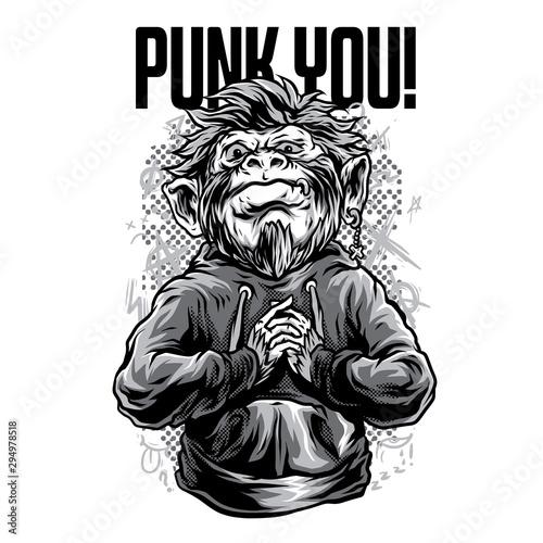 Fotografie, Obraz Punk You! Black and White Illustration