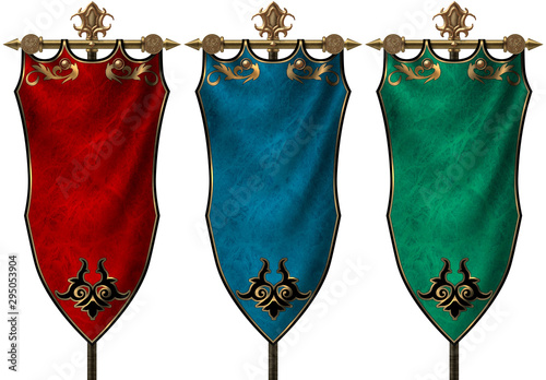 Obraz na płótnie Set of three ancient medieval banners isolated on white background