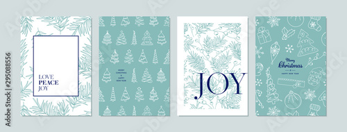Merry Christmas cards set with hand drawn elements. Doodles and sketches vector Christmas illustrations, DIN A6.