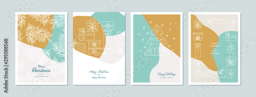 Photo Merry Christmas cards set with hand drawn elements