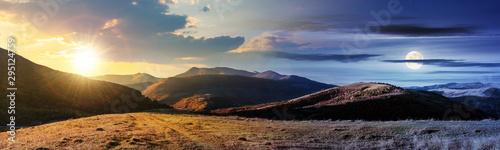 Fotografia wonderful panorama of mountain ridge in autumn