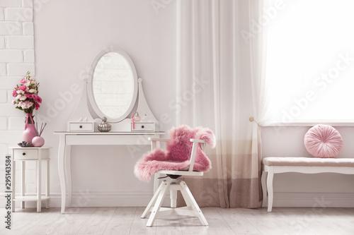 Fotografie, Obraz Stylish room interior with white dressing table