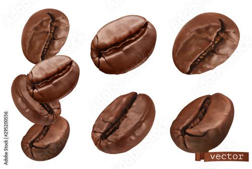 Coffee beans. 3d realistic vector set Fototapeta