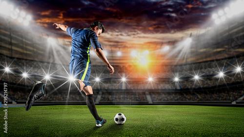 Stampa su Tela Soccer player kicks the ball on the soccer field
