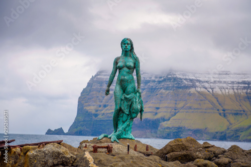 Canvas Print Statue of Selkie or Seal Wife in Mikladalur, Faroe Islands