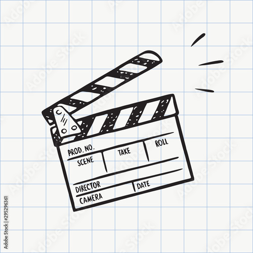 Fotografía Movie clapperboard doodle icon