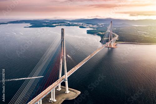 Valokuvatapetti Aerial view of the Russky Bridge from Vladivostok city to Russky Island over the Strait of Eastern Bosphorus
