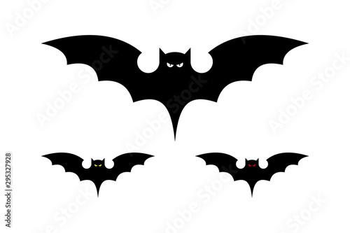 Fényképezés Black Bat Icon Silhouette Vector Design