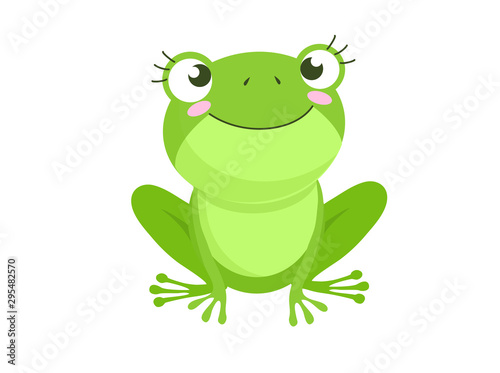 Photo Cartoon Vector of Green cute baby frog isolated on white background