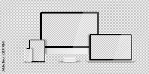 Wall mural Devices in realistic trendy design on transparent background. Set of computer laptop tablet and smartphone with empty screens. Mock up. Blank screen isolated.