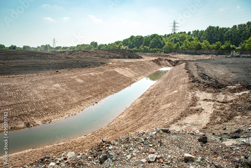 Canvas Print Land remediation on site of former chemical works, prior to redevelopment, UK