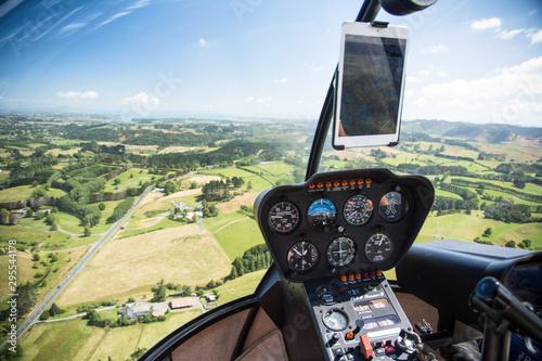 Obraz na plátně View from a helicopter cockpit