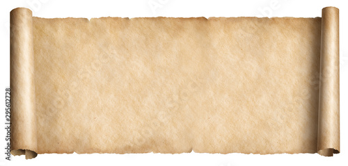 Obraz na plátně Old long scroll in horizontal position isolated