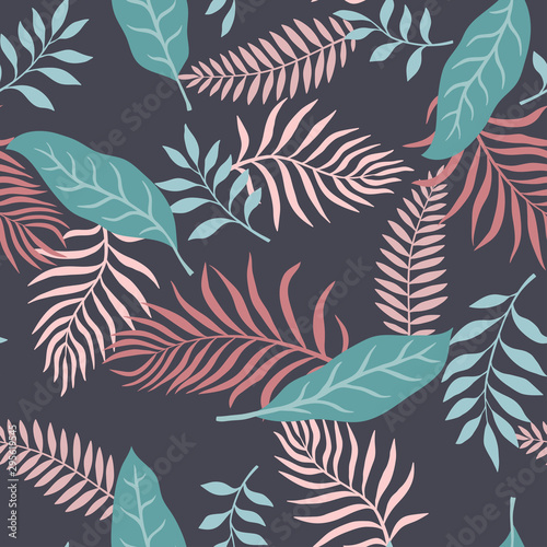 Fototapeta Tropical background with palm leaves