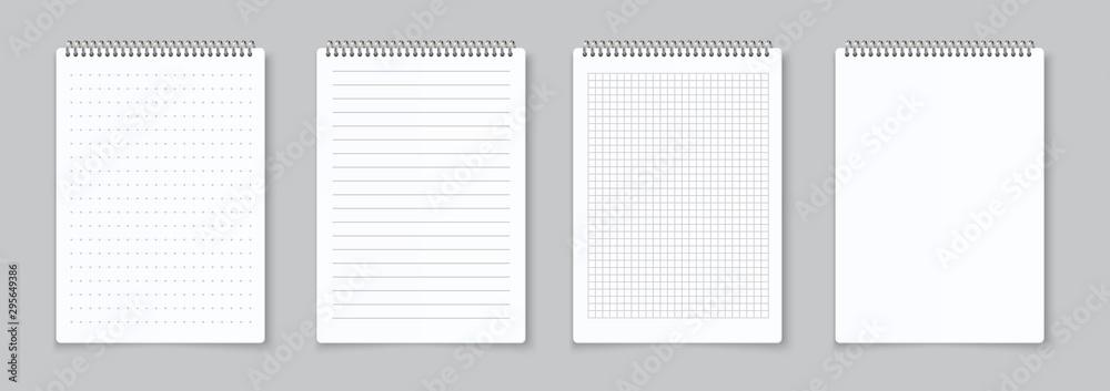Realistyczne arkusze zeszytów. Podszewka, w kratkę i kropki strona segregatora na notatniki. Wektor na białym tle ilustracja szablon notatnik pusty papier z segregatora żelaza spirali na szarym tle <span>plik: #295649386   autor: SpicyTruffel</span>