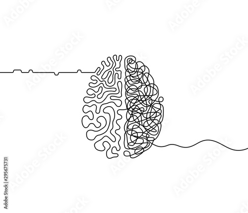 Fotografia Human brain creativity vs logic chaos and order a continuous line drawing concep
