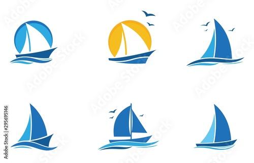 Canvas Print blue Sailing boat logo set