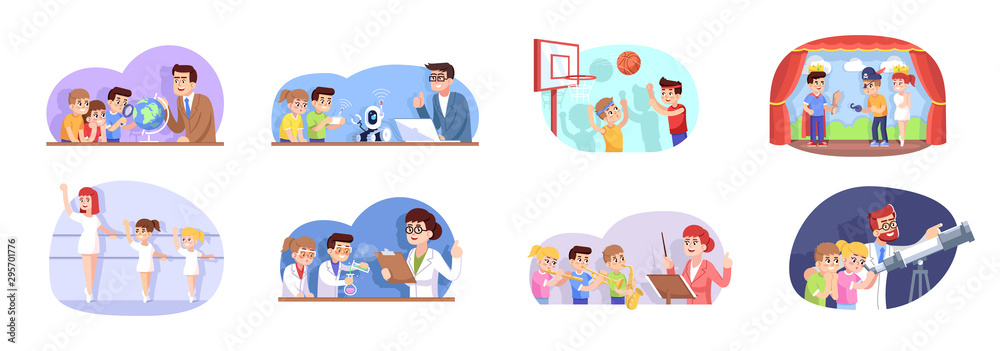 After school flat vector illustrations set. Interest classes for children. Extracurricular activities. Advanced training for schoolchildren. Kids go in for sports, science and art cartoon characters <span>plik: #295701776 | autor: bsd555</span>