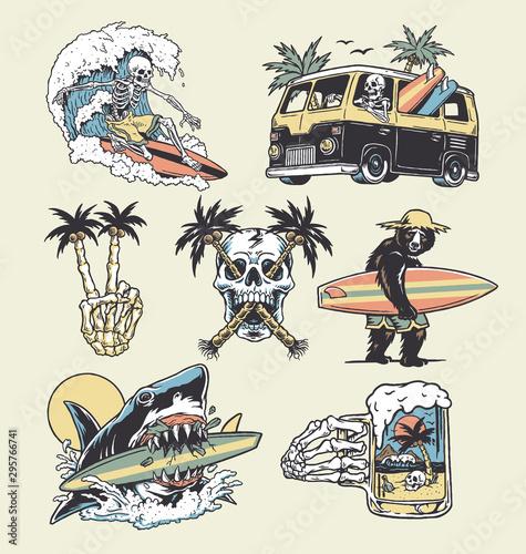 Obraz na płótnie A set of edgy surf and beach illustrations