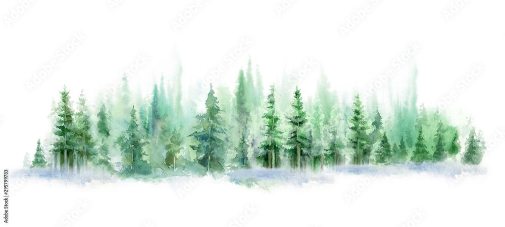 Zielony krajobraz mglisty las, wzgórze zima. Dzika przyroda, zamrożona, zamglona, tajga. tło akwarela <span>plik: #295799783   autor: Leyasw</span>