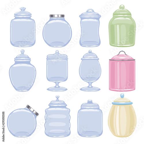 Cookie jars set vector illustration. Fototapeta