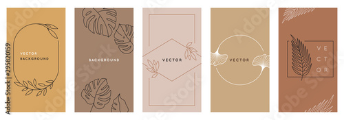 Vector design templates in simple modern style with copy space for text, flowers and leaves