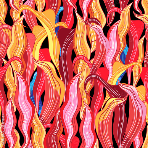 Wallpaper Mural Seamless lovely fiery multicolored floral pattern
