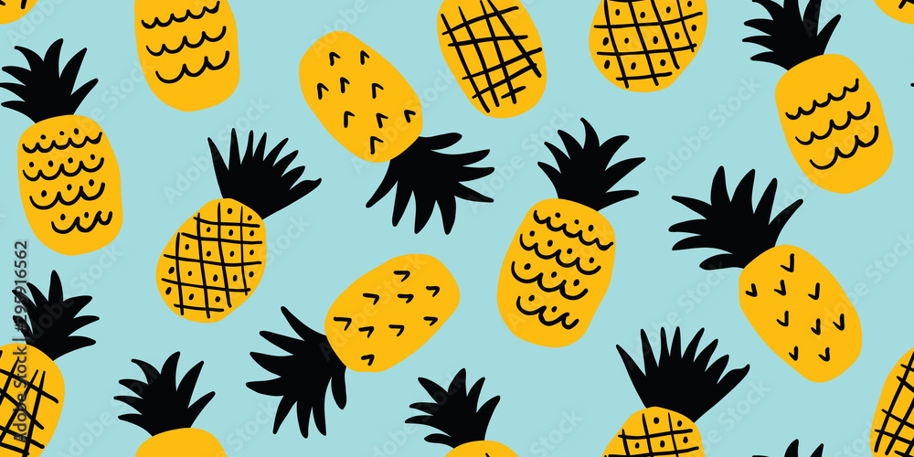 Kolorowy, minimalistyczny wzór ananasa <span>plik: #295916562 | autor: tanya</span>